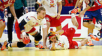 Rene Toft Hansen (L) and Mikkel Hansen (R) of Denmark in action during men`s EHF EURO 2012 handball championship final game between Serbia and Denmark in Belgrade, Serbia, Sunday, January 29, 2011.  (photo: Pedja Milosavljevic / thepedja@gmail.com / +381641260959)