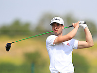 Victor Riu (FRA) on the 1st tee during Round 1 of the Challenge de Madrid, a Challenge  Tour event in El Encin Golf Club, Madrid on Wednesday 22nd April 2015.<br /> Picture:  Thos Caffrey / www.golffile.ie