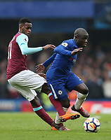 Chelsea's Ngolo Kante and West Ham United's Edimilson Fernandes<br /> <br /> Photographer Rob Newell/CameraSport<br /> <br /> The Premier League - Chelsea v West Ham United - Sunday 8th April 2018 - Stamford Bridge - London<br /> <br /> World Copyright &copy; 2018 CameraSport. All rights reserved. 43 Linden Ave. Countesthorpe. Leicester. England. LE8 5PG - Tel: +44 (0) 116 277 4147 - admin@camerasport.com - www.camerasport.com