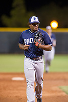 AZL Padres 2 second baseman Eguy Rosario (1) jogs to the dugout between innings during a game against the AZL Rangers on August 2, 2017 at the Texas Rangers Spring Training Complex in Surprise, Arizona. Padres 2 defeated the Rangers 6-3. (Zachary Lucy/Four Seam Images)