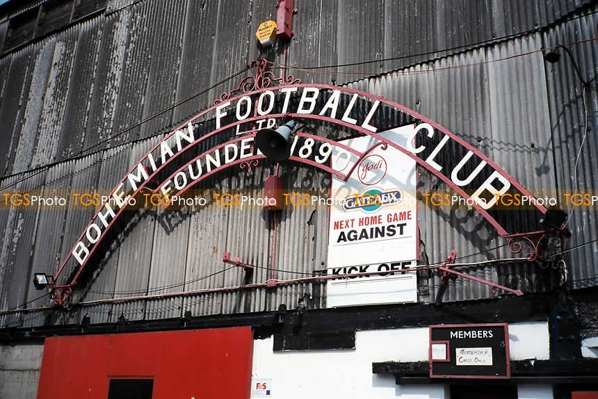 Entrance sign at Bohemian FC Football Ground, Dalymount Park, Phibsborough, Dublin, Ireland, pictured on 15th August 1997
