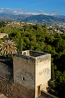 Torre de la Vela watchtower at Alhambra, a 14th-century palace, overlooking the city of Albayzin, Granada, Andalusia, Spain.