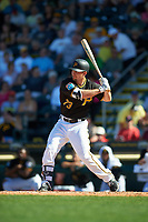 Pittsburgh Pirates center fielder Adam Frazier (73) at bat during a Spring Training game against the Boston Red Sox on March 9, 2016 at McKechnie Field in Bradenton, Florida.  Boston defeated Pittsburgh 6-2.  (Mike Janes/Four Seam Images)
