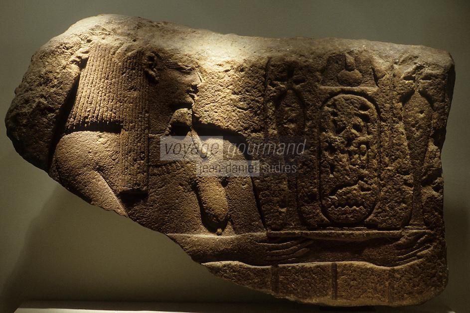 Europe/France/Midi-Pyrénées/46/Lot/Figeac:  Musée Champollion - Fragment  d'un soubassement  de temple  quartzite Noctanébo II