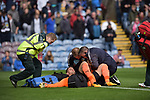 Burnley's Thomas Heaton receives attention after a collision during the premier league match at the Turf Moor Stadium, Burnley. Picture date 10th September 2017. Picture credit should read: Paul Burrows/Sportimage