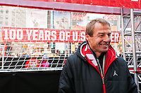 U.S. men's head coach Jurgen Klinsmann during the centennial celebration of U. S. Soccer at Times Square in New York, NY, on April 04, 2013.