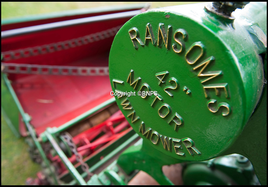 BNPS.co.uk (01202 558833)<br /> Pic: PhilYeomans/BNPS.co.uk<br /> <br /> Lawnmowing aristocracy...<br /> <br /> The worlds first powered mower has taken to the grass once more after an exhaustive restoration by lawnmower nut Andrew Hall from Somerset.<br /> <br /> Forerunner of all the machines that have graced British lawns on sunday afternoons through the decades since, This 1902 Ransome 3hp is a historic survivor from the Edwardian age when chauffers were given the task of grooming their masters lawns and the new fangled machines cost as much as a house.