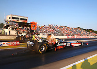Aug 15, 2014; Brainerd, MN, USA; NHRA top fuel dragster driver Clay Millican during qualifying for the Lucas Oil Nationals at Brainerd International Raceway. Mandatory Credit: Mark J. Rebilas-