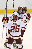 Carl Sneep (BC - 7), Matt Price (BC - 25) and Edwin Shea (BC - 8) celebrate Sneep's long range short-handed goal. - The Boston College Eagles defeated the Yale University Bulldogs 9-7 in the Northeast Regional final on Sunday, March 28, 2010, at the DCU Center in Worcester, Massachusetts.