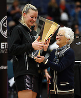 17.09.2016 Silver Ferns Katrina Grant and Taini Jamison after the Taini Jamison netball match between the Silver Ferns and Jamaica played at the Energy Events Centre in Rotorua. Mandatory Photo Credit ©Michael Bradley.