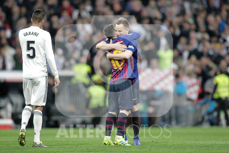 FC Barcelona's Leo Messi and Ivan Rakitic celebrate victory during La Liga match. March 02,2019. (ALTERPHOTOS/Alconada)