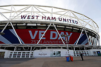 9th May 2020, London Stadium, London, England; The London Stadium, home of West Ham United, deserted during the lockdown for the Covid-19 viru; sGiant screen displaying VE Day 75th Anniversary