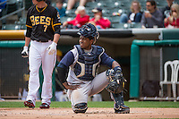 Robinson Diaz (7) of the Colorado Springs Sky Sox during the game against the Salt Lake Bees in Pacific Coast League action at Smith's Ballpark on May 24, 2015 in Salt Lake City, Utah.  (Stephen Smith/Four Seam Images)