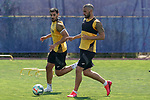Getafe's Chema Rodriguez (l) and Jorge Molina during training session. May 25,2020.(ALTERPHOTOS/Acero)