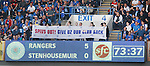 Rangers fans with banners during the match