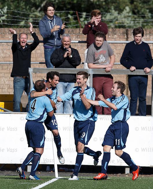 Gavin Swankie celebrates his winning goal for Forfar