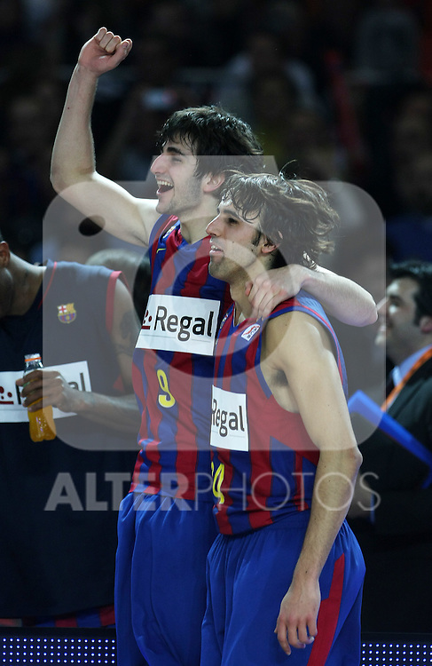 FC Barcelona's Ricky Rubio (l) and Victor Sada celebrate the victory after Spanish Basketball King's Cup Final match.(ALTERPHOTOS/Acero)