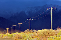 Power lines with dramatic storm light. Near Bishop. California