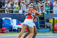 Washington, DC - August 3, 2019:  Coco Gauff (USA) and Catherine McNally (USA) celebrates during the  Women Doubles finals at William H.G. FitzGerald Tennis Center in Washington, DC  August 3, 2019.  (Photo by Elliott Brown/Media Images International)