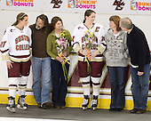 Laura Hart (BC - 27), Brett Hart, Julie Hart, Katelyn Kurth (BC - 14), Richard Kurth, Michele Kurth - The Boston College Eagles and the visiting University of New Hampshire Wildcats played to a scoreless tie in BC's senior game on Saturday, February 19, 2011, at Conte Forum in Chestnut Hill, Massachusetts.
