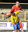 ALBION'S MICHAEL O'BYRNE GOES OVER THE TOP OF COWDENBEATH'S DEREK LYLE