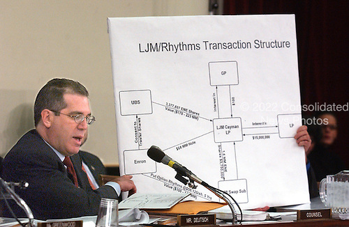 "Washington, DC - February 7, 2002 --United States  Representative Peter Deutsch (Democrat of Florida) describes an Enron transaction from a chart during the hearing of the United States House of Representatives Energy and Commerce Subcommittee on Oversight and Investigations on ""The Financial Collapse of the Enron Corporation""..Credit: Ron Sachs / CNP"