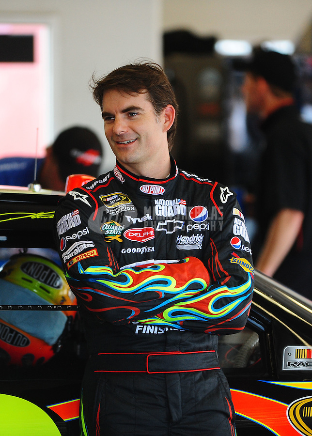 Jul. 1, 2010; Daytona Beach, FL, USA; NASCAR Sprint Cup Series driver Jeff Gordon during practice for the Coke Zero 400 at Daytona International Speedway. Mandatory Credit: Mark J. Rebilas-