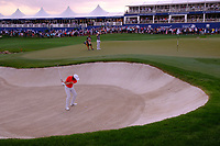 Tommy Fleetwood (ENG) on the 18th during the 1st round of the DP World Tour Championship, Jumeirah Golf Estates, Dubai, United Arab Emirates. 21/11/2019<br /> Picture: Golffile | Fran Caffrey<br /> <br /> <br /> All photo usage must carry mandatory copyright credit (© Golffile | Fran Caffrey)