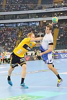 Bjarne Myrhol  (Löwen) gegen Kentin Mahe (HSV) - Tag des Handball, Rhein-Neckar Löwen vs. Hamburger SV, Commerzbank Arena