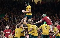 Australia's Rob Simmons claims the lineout<br /> <br /> Photographer Simon King/CameraSport<br /> <br /> International Rugby Union - 2017 Under Armour Series Autumn Internationals - Wales v Australia - Saturday 11th November 2017 - Principality Stadium - Cardiff<br /> <br /> World Copyright &copy; 2017 CameraSport. All rights reserved. 43 Linden Ave. Countesthorpe. Leicester. England. LE8 5PG - Tel: +44 (0) 116 277 4147 - admin@camerasport.com - www.camerasport.com