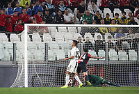 Calcio, Serie A: Juventus - Genoa, Turin, Allianz Stadium, October 20, 2018.<br /> Genoa's Daniel Bessa scores during the Italian Serie A football match between Juventus and Genoa at Torino's Allianz stadium, October 20, 2018.<br /> UPDATE IMAGES PRESS/Isabella Bonotto