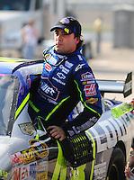 Sept. 26, 2008; Kansas City, KS, USA; Nascar Sprint Cup Series driver Jimmie Johnson during qualifying for the Camping World RV 400 at Kansas Speedway. Mandatory Credit: Mark J. Rebilas-