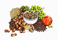 Range of healthy fruit, nuts and seeds