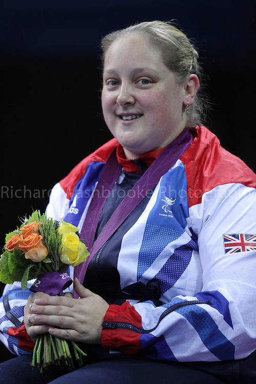 Paralympics London 2012 - ParalympicsGB - Table Tennis  Women's Team C1 1-3 Bronze Medal ..Sara Head celebrates winning the Bronze Medal after competing at the Excel Centre  7th September 2012 Paralympic Games in London. Photo: Richard Washbrooke/ParalympicsGB
