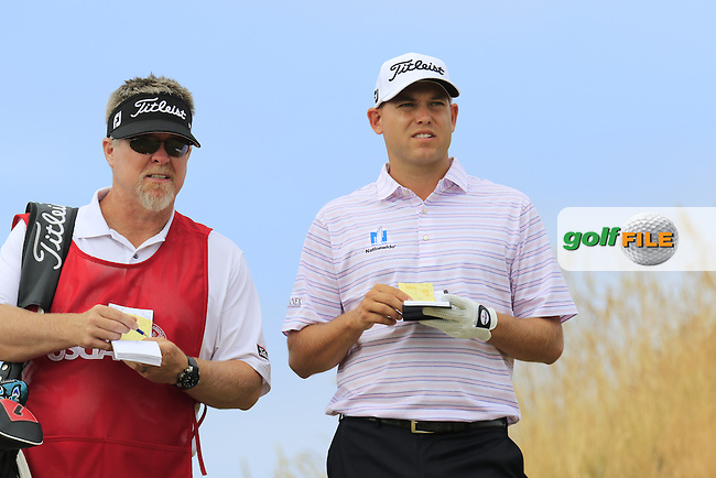 Bill HAAS (USA) and caddy Scott Gneiser on the 16th tee during Thursday's Round 1 of the 2015 U.S. Open 115th National Championship held at Chambers Bay, Seattle, Washington, USA. 6/19/2015.<br /> Picture: Golffile | Eoin Clarke<br /> <br /> <br /> <br /> <br /> All photo usage must carry mandatory copyright credit (&copy; Golffile | Eoin Clarke)
