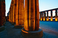 Massive columns at sunset, Luxor Temple located at modern day Luxor or ancient Thebes