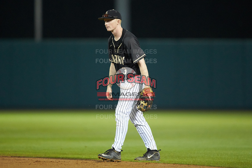 Army Black Knights second baseman Josh White (3) on defense against the Auburn Tigers at Doak Field at Dail Park on June 2, 2018 in Raleigh, North Carolina. The Tigers defeated the Black Knights 12-1. (Brian Westerholt/Four Seam Images)