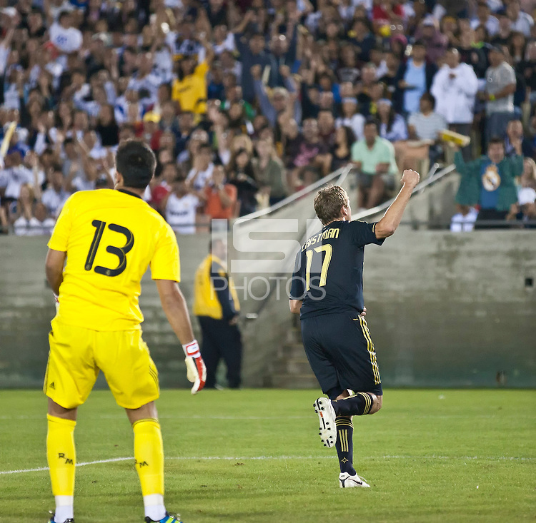 LOS ANGELES, CA – July 16, 2011: Adam Cristman (17) of the LA Galaxy celebrates his goal during the match between LA Galaxy and Real Madrid at the Los Angeles Memorial Coliseum in Los Angeles, California. Final score Real Madrid 4, LA Galaxy 1.