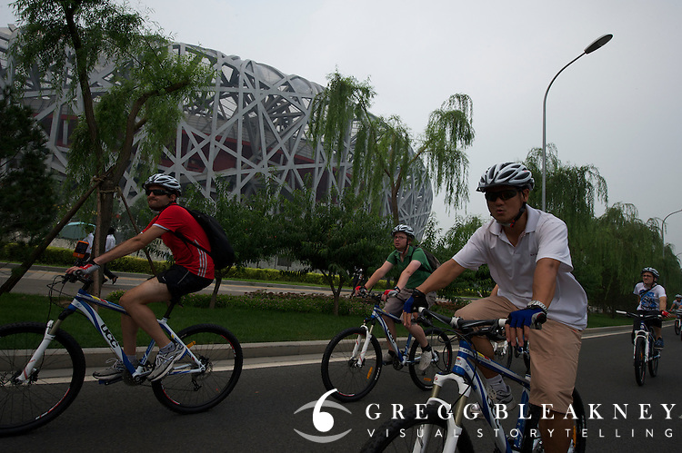 Time Trail Course, KM 8-11, the course leaving a wooded park and back to the Bird's Nest finish - Journalists and delegates pre-ride the 2011 Tour of Beijing Scouting Photos