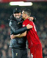 Liverpool manager Jürgen Klopp celebrates after the game with Dejan Lovren<br /> <br /> Photographer AlexDodd/CameraSport<br /> <br /> The Premier League - Liverpool v Manchester United - Sunday 16th December 2018 - Anfield - Liverpool<br /> <br /> World Copyright © 2018 CameraSport. All rights reserved. 43 Linden Ave. Countesthorpe. Leicester. England. LE8 5PG - Tel: +44 (0) 116 277 4147 - admin@camerasport.com - www.camerasport.com