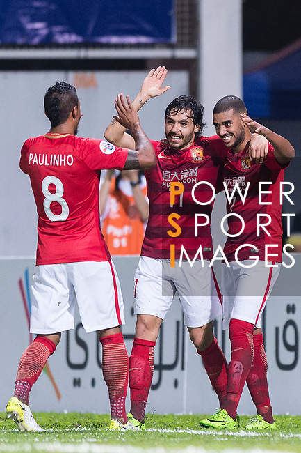 Guangzhou Forward Ricardo Goulart (C) celebrating his score with his teammates Alan Douglas (R) and Paulinho Maciel (L) during the AFC Champions League 2017 Group G match between Eastern SC (HKG) vs Guangzhou Evergrande FC (CHN) at the Mongkok Stadium on 25 April 2017, in Hong Kong, China. Photo by Chung Yan Man / Power Sport Images