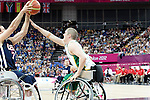 Australia defeats USA 65 to 49 in the men's wheelchair basketball round - 2.9.12, London Paralympic Games, 2012.