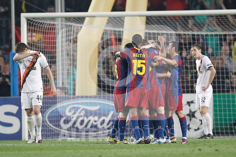 Barcelona's Xavi Hernandez goal during Champions League match on April, 6th 2011...Photo: Cesar Cebolla / ALFAQUI