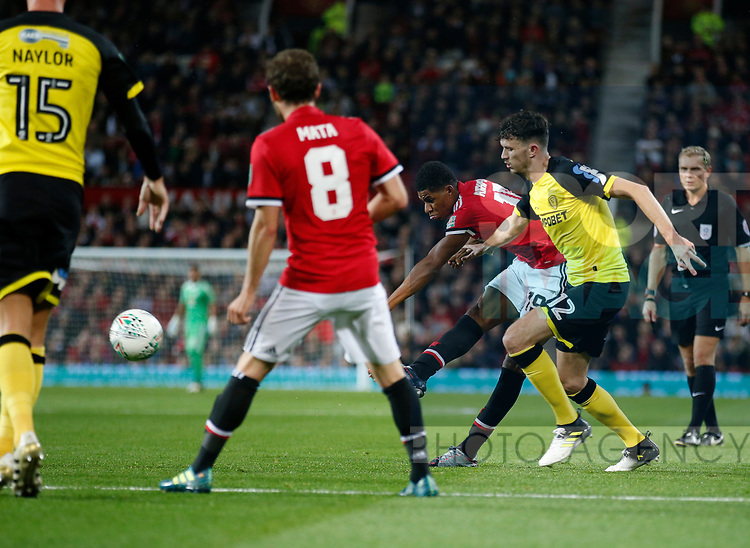 Marcus Rashford of Manchester United scores the second goal during the Carabao Cup Third Round match at the Old Trafford Stadium, Manchester. Picture date 20th September 2017. Picture credit should read: Simon Bellis/Sportimage