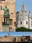 Bronze Statue of Trajan Via dei Fora Imperiali Nome di Maria Dome Trajan's Column Trajan's Market Torre delle Milizie Casa dei Cavalieri di Rodi House of the Knights of Rhodes Composite Image Trajan's Forum Rome