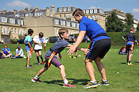 Jonathan Evans of Bath Rugby takes part in the Tag rugby. Bath Rugby Family Festival of Rugby, on August 8, 2015 at the Recreation Ground in Bath, England. Photo by: Patrick Khachfe / Onside Images