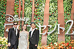 "(L-R) Actors Sam Riley, Angelina Jolie and Japanese musician MIYAVI attend a Japan premiere for Disney's ""Maleficent: Mistress of Evil"" on October 3, 2019, in Tokyo, Japan. The movie is a sequel to 2014 hit ""Maleficent"" and will be released on October 18. (Photo by AFLO)"