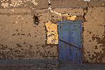 A blue door in Luxor town, Egypt.