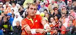 Nederland, Amsterdam, 14 september  2012.Seizoen 2012/2013.Davis_Cup.Nederland_Zwitserland.Thiemo de Bakker in actie met de bal