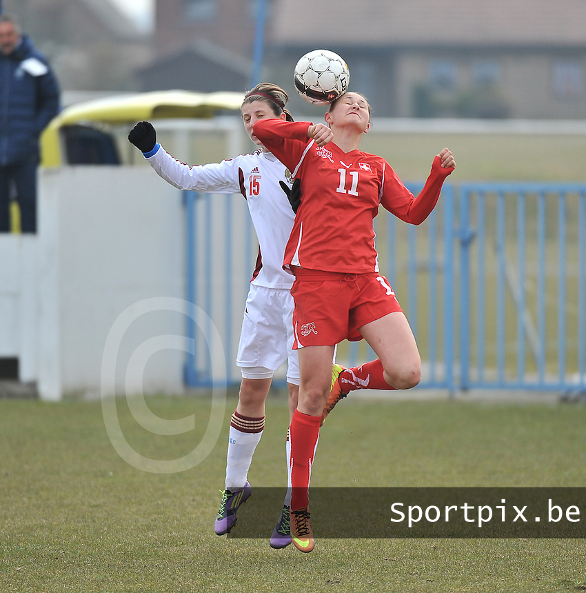 Switzerland U19 - Russia U19 : Barla Deplazes (11) and Elina Samoilova.foto DAVID CATRY / Nikonpro.be